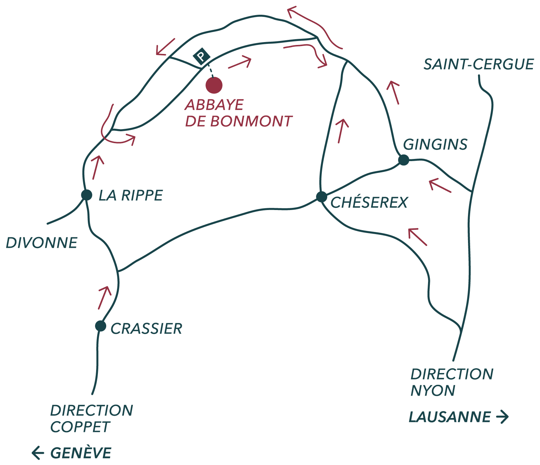 carte pour accéder à l'Abbaye de Bonmont